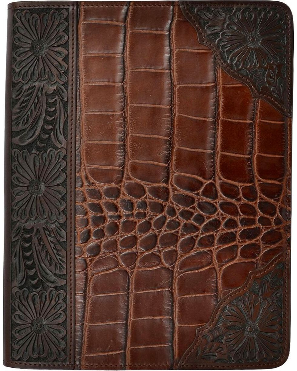 3D Floral Embossed Leather iPad Cover, Brown, hi-res