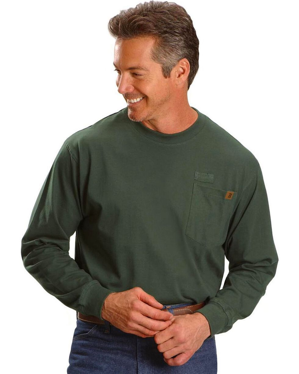 Riggs Workwear Men's Long Sleeve Pocket T-Shirt, Forest Green, hi-res