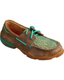 Twisted X Youth Girls' Bomber Brown Turquoise Driving Mocs - Moc Toe, , hi-res