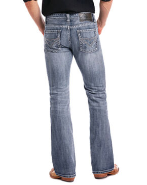 Rock & Roll Cowboy Men's Pistol Large Double V Embroidered Boot Cut Jeans, Blue, hi-res