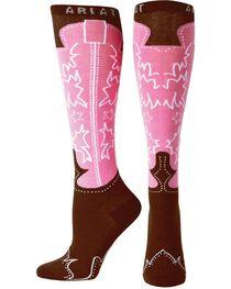 Ariat Women's Cowboy Boot Print Knee High Socks, , hi-res