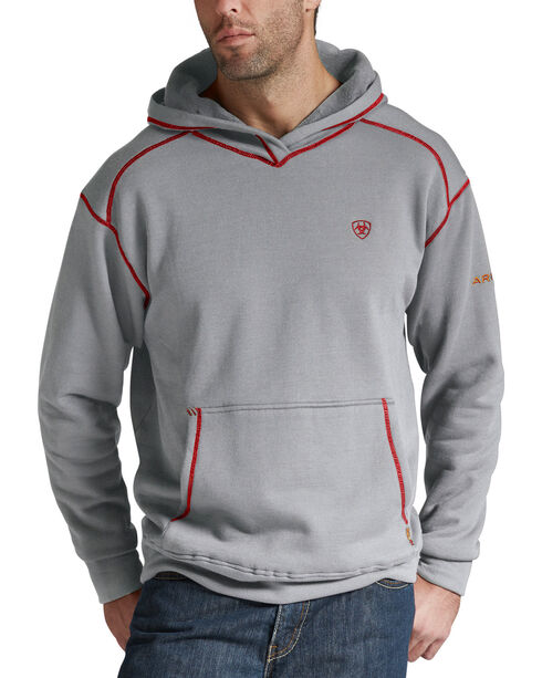 Ariat Flame Resistant Polartec Grey Hoodie - Big and Tall, Hthr Grey, hi-res