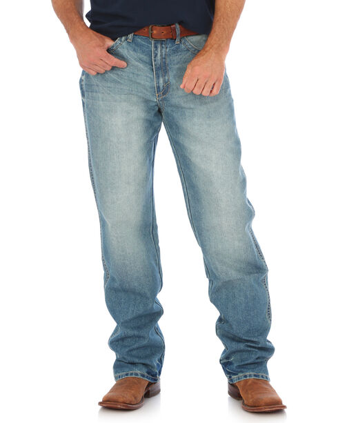Wrangler Men's Blue 20X No. 33 Relaxed Fit Jeans - Straight Leg , Medium Blue, hi-res