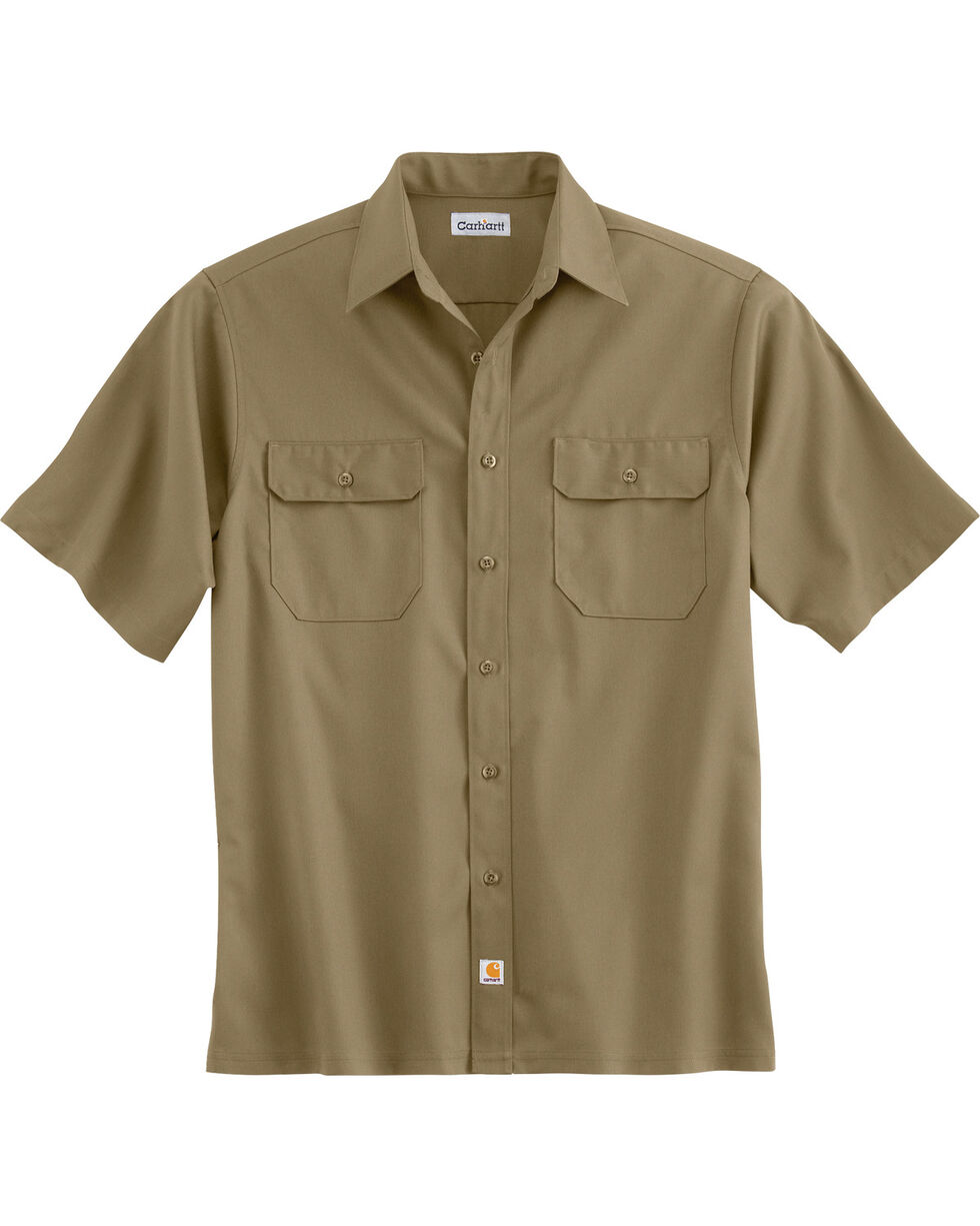 Carhartt Men's Short Sleeve Twill Work Shirt, Khaki, hi-res