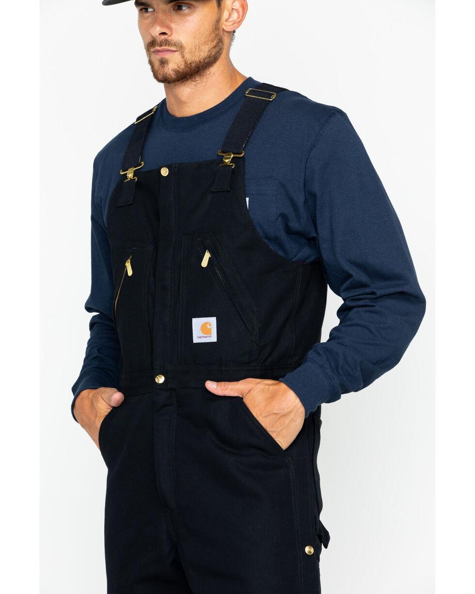 Carhartt Men's Duck Zip-To-Waist Quilt Lined Biberalls, Black, hi-res