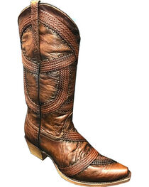 Corral Women's Brown Braided and Studded Cowgirl Boot - Snip Toe, , hi-res