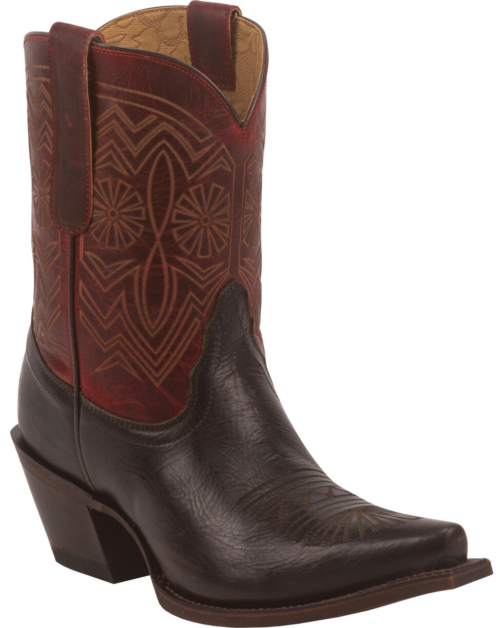 Tony Lama Women's Baja 100% Vaquero Western Booties, Chocolate, hi-res