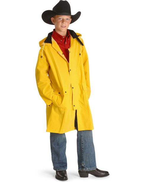 Double S childrens saddle slicker - 6-12, Yellow, hi-res
