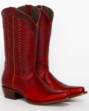 Shyanne® Women's Leather Laced Western Boots, Red, hi-res