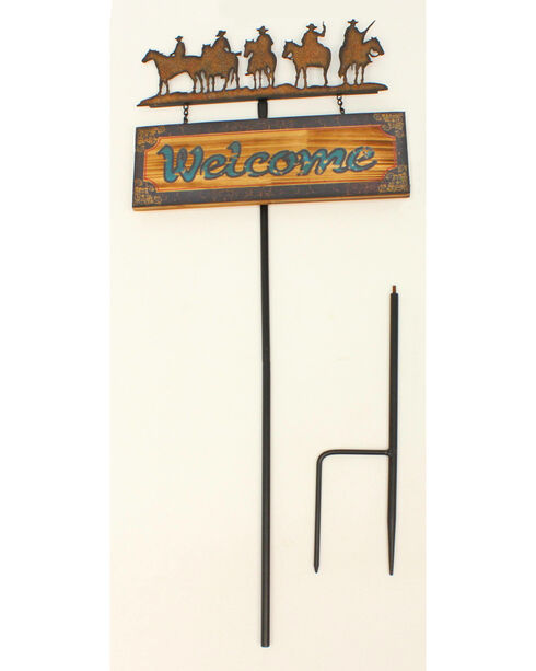 Western Moments Metal Welcome Lawn Stake, Brown, hi-res