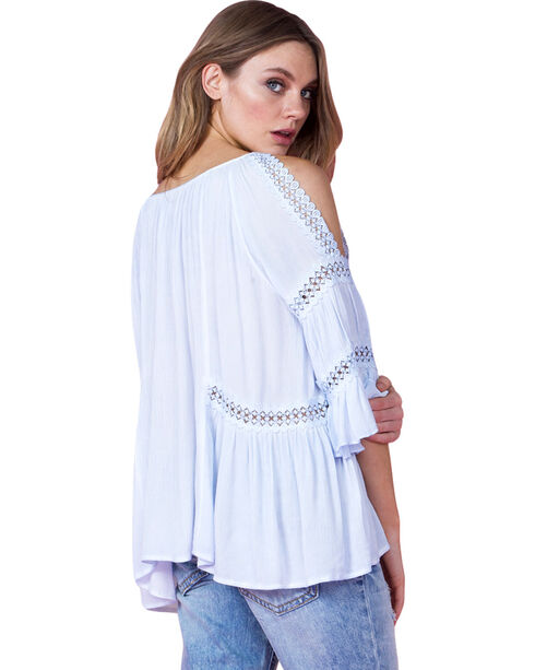 Miss Me Women's Light Blue Bell Sleeve Peasant Top, , hi-res