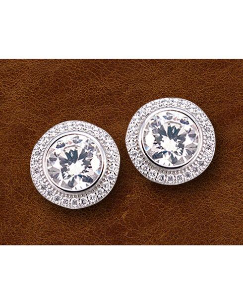 Kelly Herd Sterling Silver Pave' Bezel Set Post Backs Earrings , Silver, hi-res