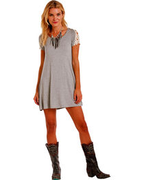 Panhandle Slim Women's Cap Sleeve Lace Inset Swing Dress , , hi-res