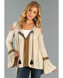Wrangler Women's Cold Shoulder Taping Top, , hi-res