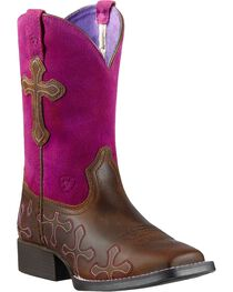 Ariat Girls' Crossroads Cowgirl Boots - Square Toe, , hi-res