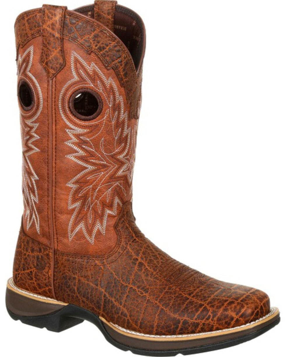Rebel by Durango Men's Brown Elephant Print Western Boots - Square Toe , Brown, hi-res