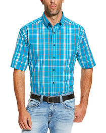 Ariat Men's Turquoise Ethan Short Sleeve Shirt, , hi-res