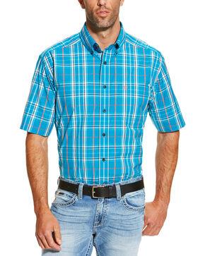 Ariat Men's Turquoise Ethan Short Sleeve Shirt, Turquoise, hi-res