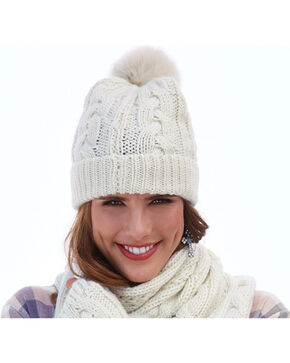 Shyanne® Women's Cable Knit Pompom Beanie, Cream, hi-res