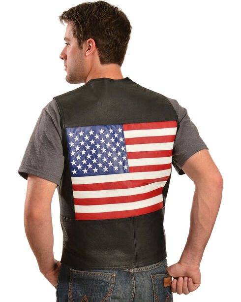 Vintage Leather Men's American Flag Leather Vest, Black, hi-res