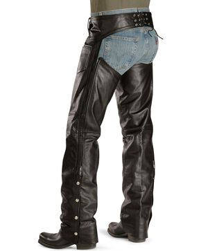 Interstate Leather Motorcycle Chaps, Black, hi-res