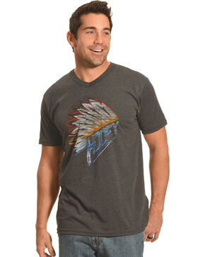 Hooey Men's Charcoal Indian Headdress V-Neck Tee, Grey, hi-res