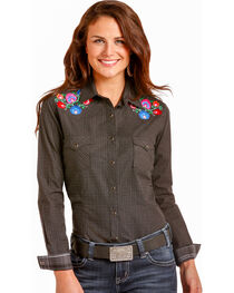 Rough Stock by Panhandle Women's Floral Embroidered Snap Shirt, , hi-res