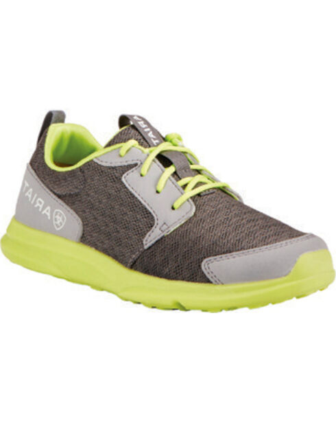 Ariat Youth Boys' Fuse Grey Green Mesh Shoes, Grey, hi-res
