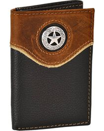Nocona Leather Overlay Star Concho Tri-Fold Wallet, , hi-res