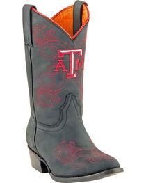 Gameday Boots Girls' Texas A&M University Western Boots - Medium Toe, Black, hi-res