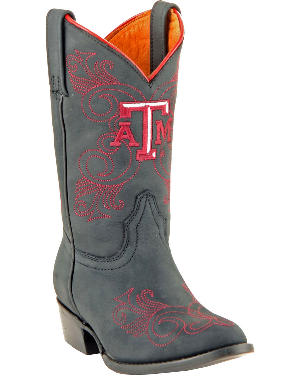 Gameday Boots Girls' Texas A&M University Western Boots - Medium Toe, Black, hi-res