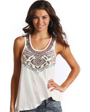 Rock & Roll Cowgirl Women's White Sequin Tank , White, hi-res