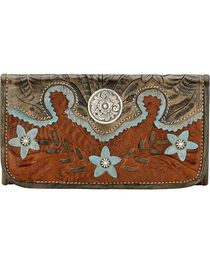 American West Women's Desert Flower Tri-Fold Wallet, , hi-res