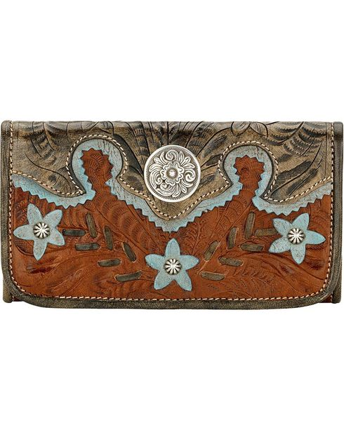 American West Women's Desert Flower Tri-Fold Wallet, Brown, hi-res