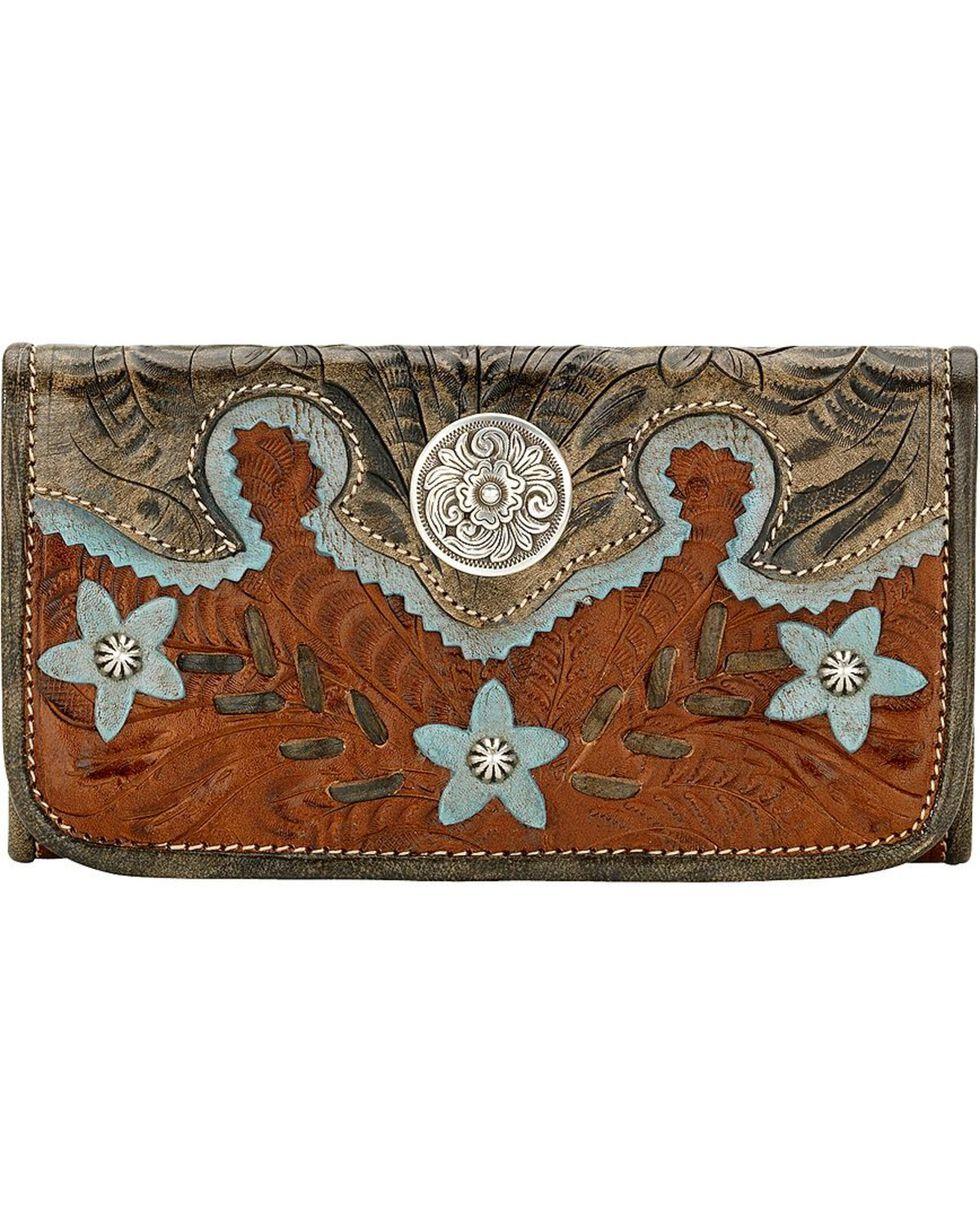 American West Women's Desert Flower Tri-Fold Wallet, Brown, hi-res