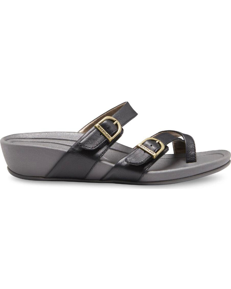 Eastland Women's Hampton Strap and Buckle Sandals , Black, hi-res