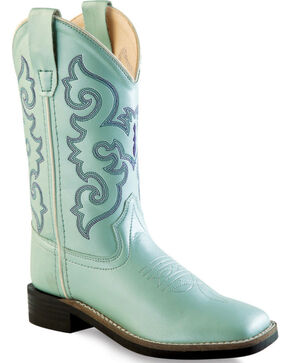 Old West Girls' Light Blue Western Boots - Square Toe, Blue, hi-res