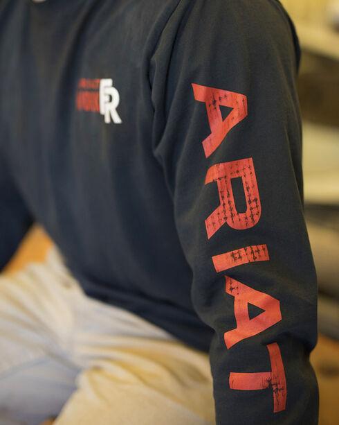 Ariat Men's Black FR Logo Crew Neck Long Sleeve Shirt, Black, hi-res