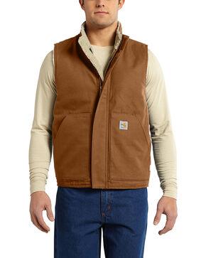 Carhartt Men's Flame Resistant Mock Neck Vest, Pecan, hi-res