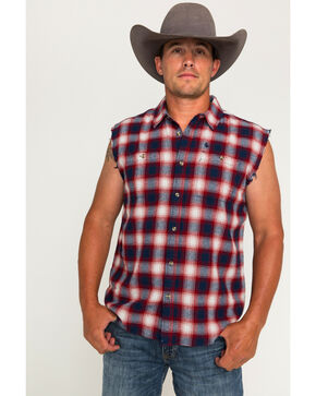 Cody James Men's Patriot Sleeveless Button Down Shirt, Blue, hi-res