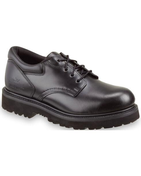 Thorogood Men's Classic Leather Academy Oxfords - Steel Toe, Black, hi-res