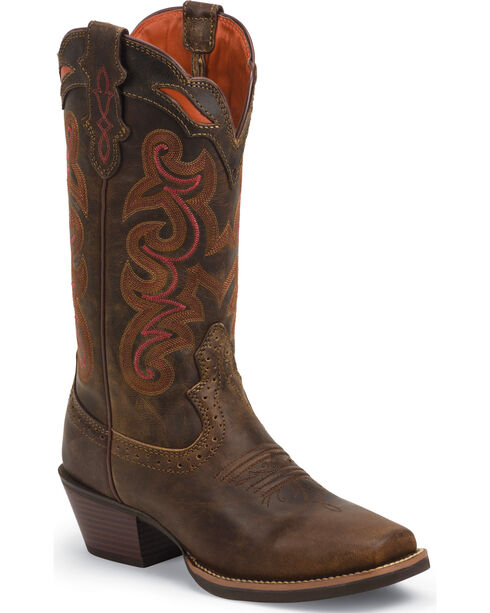 Justin Women's Silver Collection Wide Square Toe Western Boots, Coffee, hi-res
