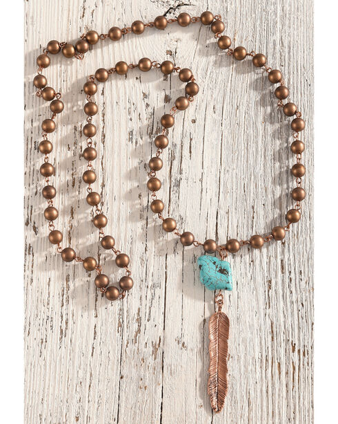 Shyanne Women's Copper Beaded Turquoise Stone Necklace, Rust Copper, hi-res