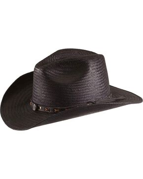 Jack Daniel's black straw cowboy hat, Black, hi-res