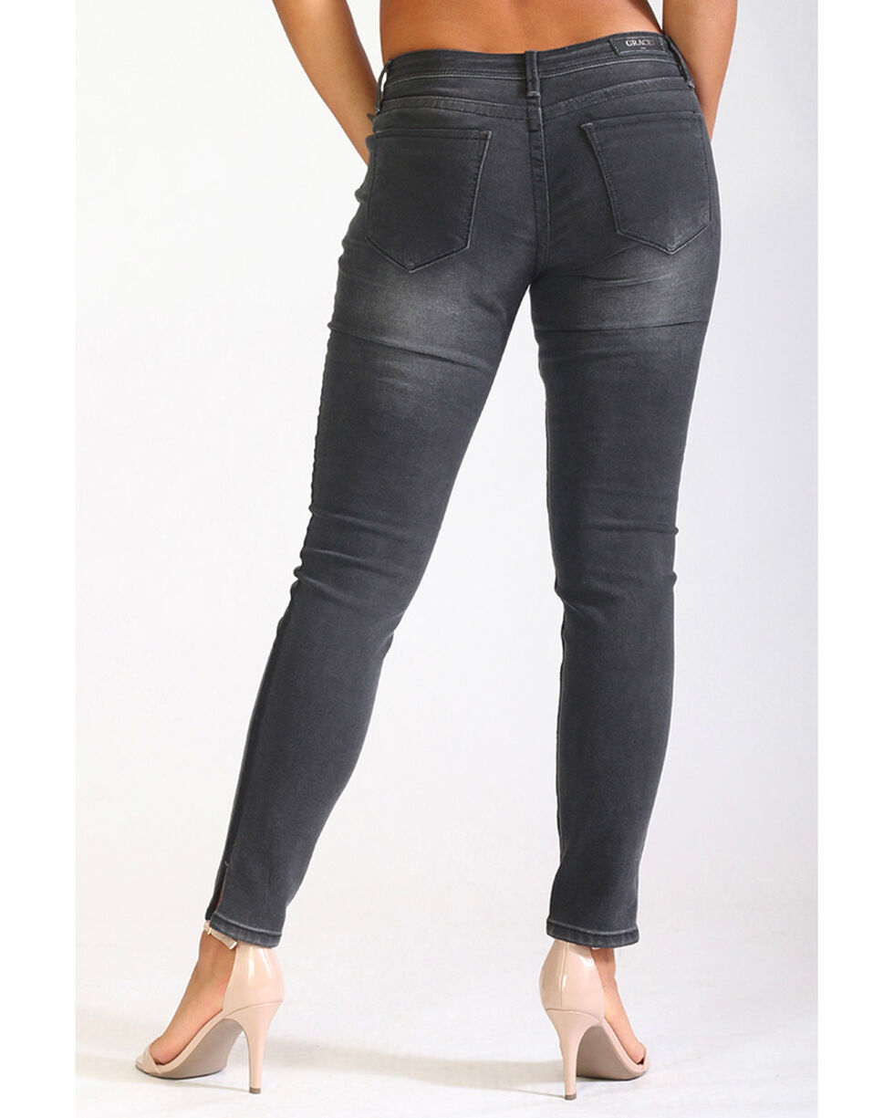 Grace in LA Women's Black Side Slit Skinny Jeans, Black, hi-res