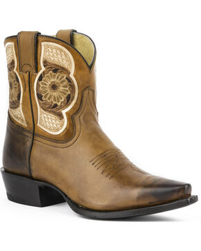 Stetson Women's Hand-Tooled Rose Western Shorty Boots, Brown, hi-res