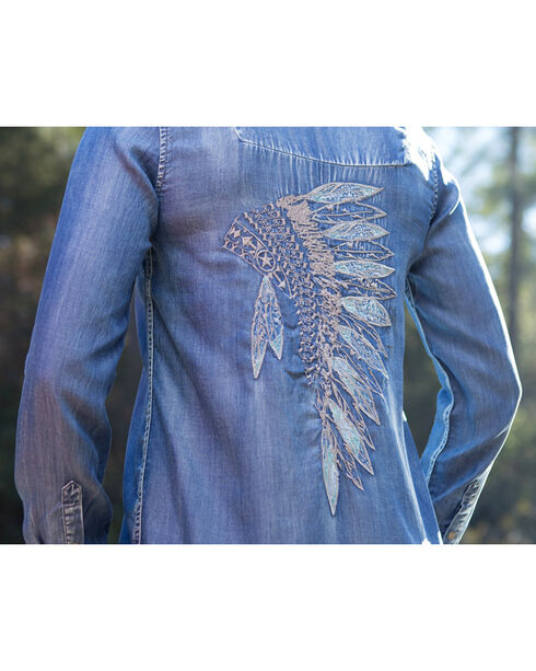 Ryan Michael Women's Indigo Headdress Embroidered Tunic , Indigo, hi-res