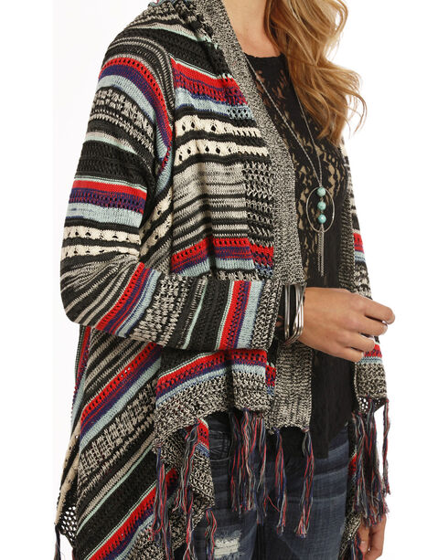 Rock and Roll Cowgirl Multi-Color Open Front Cardigan, Black, hi-res