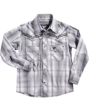 Cowboy Hardware Boys' Barb Wire Plaid Long Sleeves Shirt, Grey, hi-res