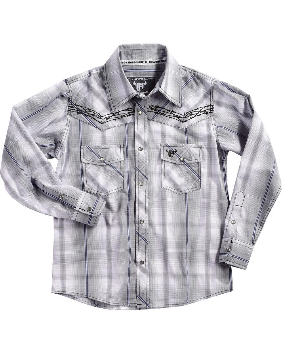 Cowboy Hardware Boys' Barb Wire Plaid Long Sleeves Shirt, , hi-res